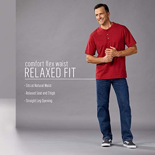 Wrangler Authentics Men's Relaxed Fit Comfort Flex Waist Jean, Dark Stonewash, 34W x 34L