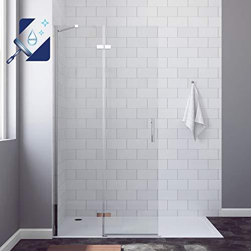 AQUABATOS® 75 x 195 cm Duschabtrennung Walk-IN Duschwand Glas Duschtrennwand Pendeltür Duschtür Drehtür Glaswand Begehbare aus 6 mm ESG Glas mit Nano Beschichtung