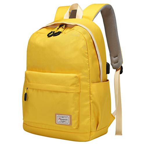 Travel Laptop Backpack Rucksack for Womens Mens,Modoker Vintage College School Backpack with USB Charging Port,Multipurpose Daypack Computer Bag Fits 156 inch Yellow