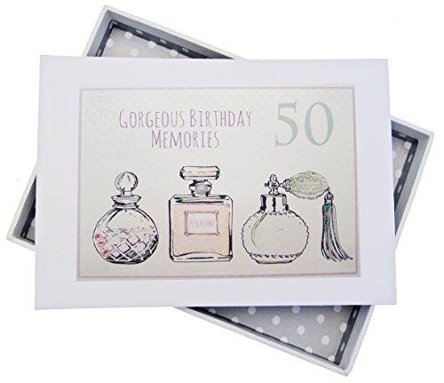 White Cotton Cards Fotoalbum voor 50e verjaardag, mini, parfumflessen, wit