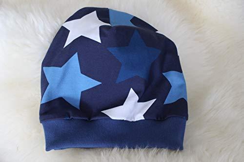 Kinder Mütze Beanie Sterne big Stars blau Jungs