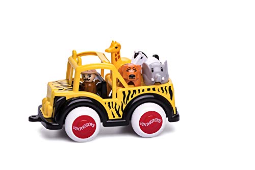 Viking Safari 4 x 4 - Includes Driver, Giraffe, Elephant, Zebra & Tiger - Dishwasher Safe Soft Plastic 7.5' Vehicle for Ages 1 and Up