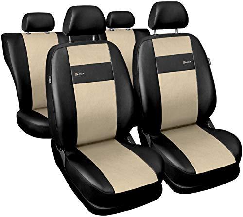 GSC Sitzbezüge Auto Komplett 5-Sitze Universal Autositzbezüge Schonbezüge Vorne Kunst Leder mit Airbag System X-LINE, kompatibel mit Opel Adam