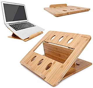iCozzier Bamboo Foldable Laptop Stand Holder Adjustable Notebook Computer Tablet Desk Bed Heat Dissipation Mount for Macbo...
