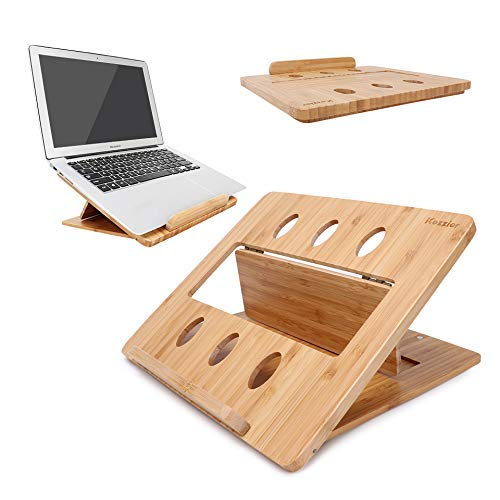 iCozzier Bambus Faltbarer Laptopständer Einstellbare Notebook Tablet Schreibtisch-Wärmeableitungshalterung für Macbook, Netbook, Ultrabook