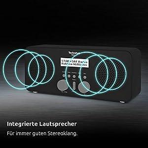 TechniSat VIOLA 2 S - tragbares DAB Radio (DAB+, UKW, Wecker, Stereo Lautsprecher, Kopfhöreranschluss, Aux-In, zweizeiliges Display, Tastensteuerung, 4 Watt RMS) schwarz