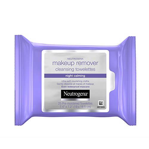 Neutrogena Night Calming Cleansing Makeup Remover Face Wipes, Disposable Nighttime Facial Towelettes to Remove Dirt, Oil, Makeup & Waterproof Mascara, Alcohol-Free, 25 ct