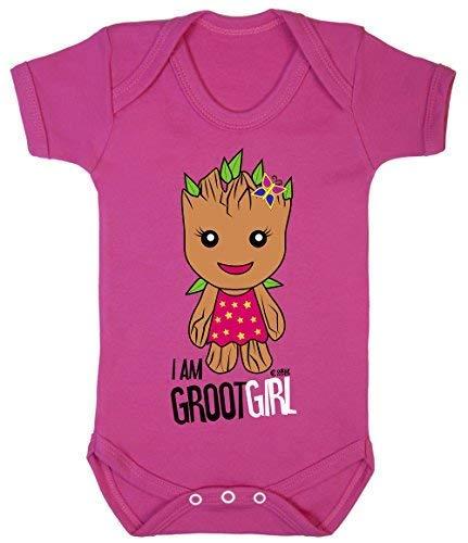 Colour Fashion Guardians of The Galaxy Groot Fille Superhéros Drôle Bodys Bébé 100% Cotton - Rose Cerise, 3-6 Months