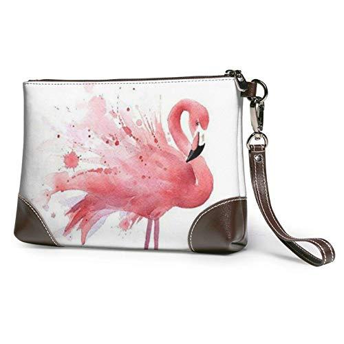 XCNGG Pink Flamingo Aquarell Printed Clutch Geldbörse Abnehmbare Leder Wristlet Wallet Bag Damen Handtasche