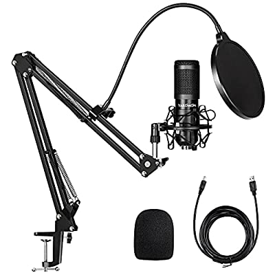 USB Condenser Microphone Kit,Yakomon Studio PC microphone with Stand,Professional 192KHZ/24Bit Streaming Podcast Mic for YouTube Video/Streaming Singing/Recording/Game/PS4(Updated)