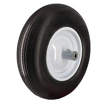 Wheelbarrow Tire 4.80/4.00-8  with 5/8 Bearings & 6  Hub 16 inch Flat Free Ribbed Tread Wheelbarrow Tire on Wheel 4.00-8 Non-Slip Solid Wheel for Garden Patio Cart