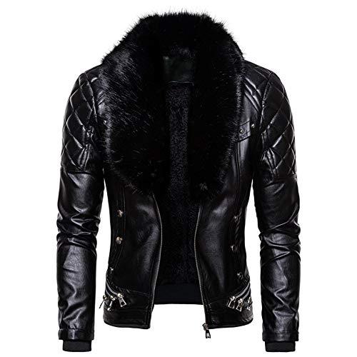 Giacca in pelle da uomo con collo di pelliccia staccabile giacca da motociclista inverno vintage zip up cappotto in pelle morbida casual moto in pelle regalo di Natale per gli uomini papà fidanzato
