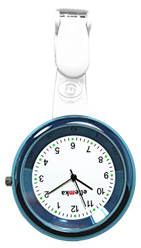 Ellemka - Krankenschwestern Pfleger Chefs   Analoge Ansteckuhr Taschenuhr   Digitales Quarzuhrwerk   Hängeband aus ABS Plastik mit Clip   JCM-2103 Elle - Blue Hellblau