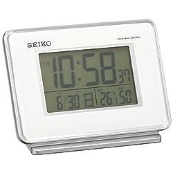 Seiko Clock Clock 2-Channel Alarm Temperature and Humidity Radio Digital Alarm Clock (White) SQ767W