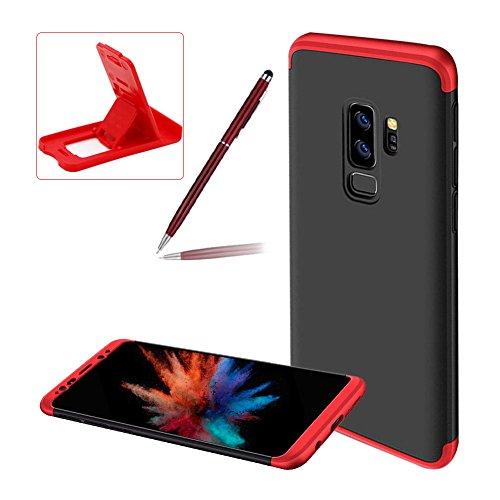 Herzzer Coque pour Galaxy S9 Plus, Hybride 3 en 1 Étui 360 Degres Intégrale Protection Hard PC Bumper Anti Scratch Antichoc pour Samsung Galaxy S9 Plus - Noir + Rouge