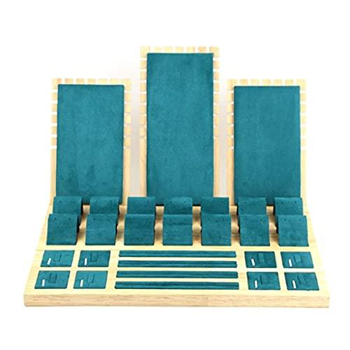 Aiglen Expositor de terciopelo de bambú para joyas, expositor para pendientes, de botón para pendientes, estuche para estante