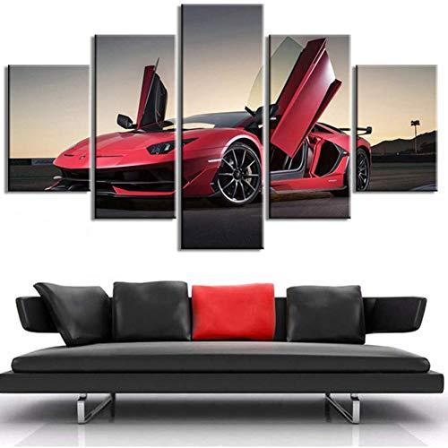 FJNS 5 Piezas HD Supercar Cuadros en Lienzo Lamborghini Aventador Coche Deportivo Cartel Pared Arte sin Marco Sala de Estar decoración del hogar,30x40x2+30x60x2+30x80x1