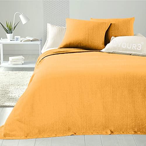 Colcha de algodón para cama individual de plaza y media, matrimonial, artesanal, primaveral, verano, manta multiusos multiusos para sofá, gran foulard (albaricoque, matrimonial)