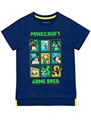 Minecraft Camiseta Manga Corta para Niños Creeper and Steve