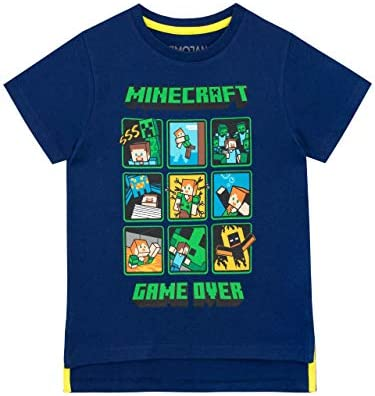Minecraft Camiseta Manga Corta para Niños Creeper and Steve