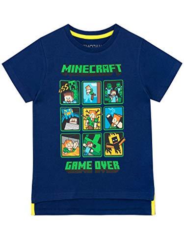Minecraft Jungen Creeper and Steve T-Shirt Blau 128