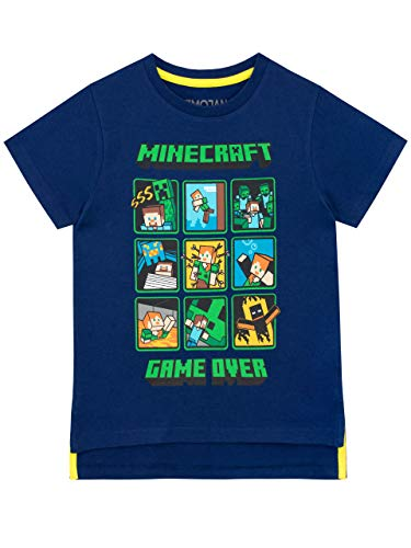 Minecraft Jungen Creeper and Steve T-Shirt Blau 140