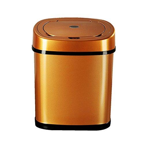 LOVELY Modern Smart Sensor Trash, 12l élégant en acier inoxydable Salle de bain Cuisine Living Trash (Color : Golden yellow)