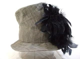 telco帽子 黒羽根つきハット グレー サイズ58