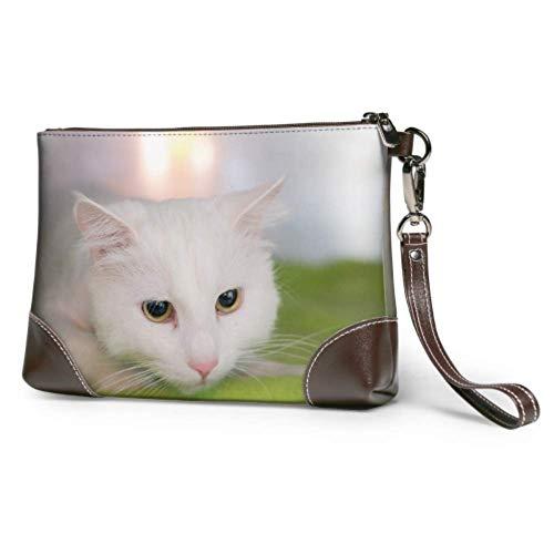 Bolso de mano Gato blanco sobre alfombra verde Cartera de mano de...