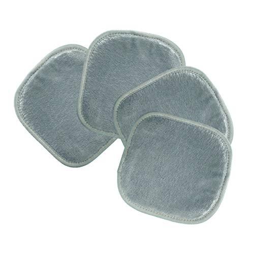 Polyte - Toalla facial desmaquillante de microfibra - Hipoalergénica y sin elementos químicos - Premium - Gris (20 x 20 cm) Pack de 4