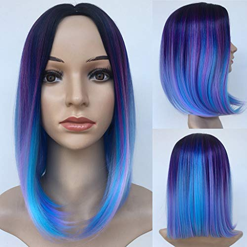FORUU Wigs, 2020 Valentine's Day Surprise Best Gift For Girlfriend Lover Wife Party Under 5 Free delivery Fashion Synthetic Pretty Dyeing Gradient BOB Blue Purple Color Wig Natural Hair