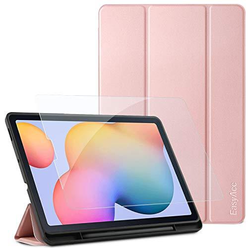 EasyAcc Custodia Compatibile con Samsung Galaxy Tab S6 Lite 10.4 con Vetro Temperato-Ultra Sottile con Cover Leggero Supporto in Pelle PU Case Compatibile con Tablet Samsung Tab S6 Lite 2020, Rosa