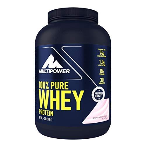 Multipower 100{a66f1d5230f1523f7fee6af0f901be2f07ecd417b644e3f8f9075a7614258c21} Pure Whey Protein – wasserlösliches Proteinpulver mit Erdbeer Geschmack –  Eiweißpulver mit Whey Isolate als Hauptquelle – Vitamin B6 und hohem BCAA-Anteil – 900 g