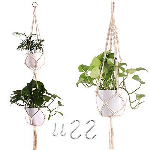 EQLEF Colgador para Plantas, Beads Hanging Basket Planter Cuerda de algodón con...