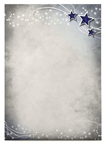Weihnachtsbriefpapier | Simply Stars | 100 Blatt weihnachtliches Motivpapier DIN A4 | Briefpapier