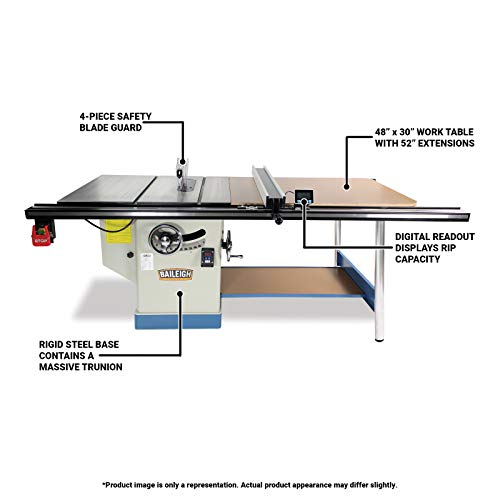 Baileigh TS-1248P-52 Professional Cabinet Style Table Saw, Single Phase, 48