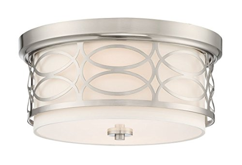 """Kira Home Sienna 13"""" Modern 2-Light Flush Mount Ceiling Light + Metal Drum Shade + White Fabric Shade + Round Frosted Glass Diffuser, Brushed Nickel Finish"""