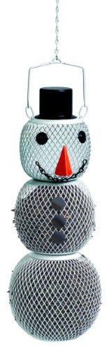 Perky-Pet Mangeoire à oiseaux en métal - Décoration bonhomme de neige avec crochet de suspension, panneau solaire & LED pour jardin - Capacité max. 700g de graines #SHSM00356