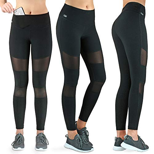 Formbelt Variosports [Leggings mesh mit Tasche lang] - Laufhose Fitness Stretch-Hose Hüfttasche hoher Bund Tummy Control für Smartphone...