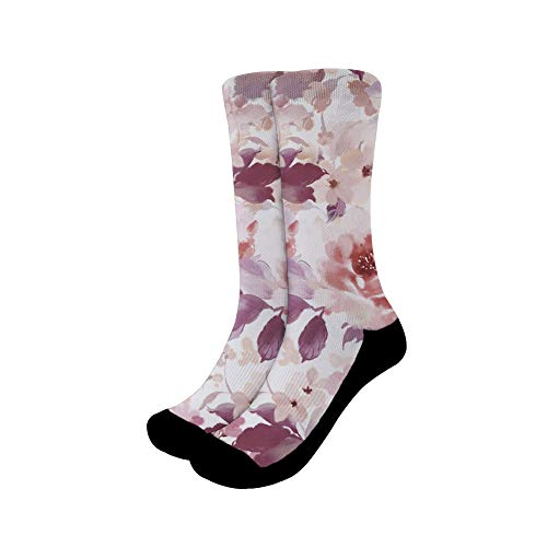 chaqlin - Calcetines divertidos para vestir, diseño de flores, talla L