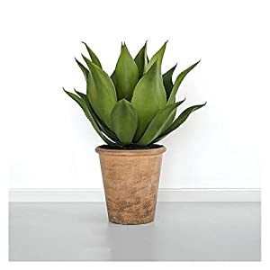 xiaokeai Artificial Plant Artificial Agave Potted Succulent Plants Modern Indoor Greenery Home Decor Fake Plants in Pots for Home, Office – 2.1-Feet Artificial Potted