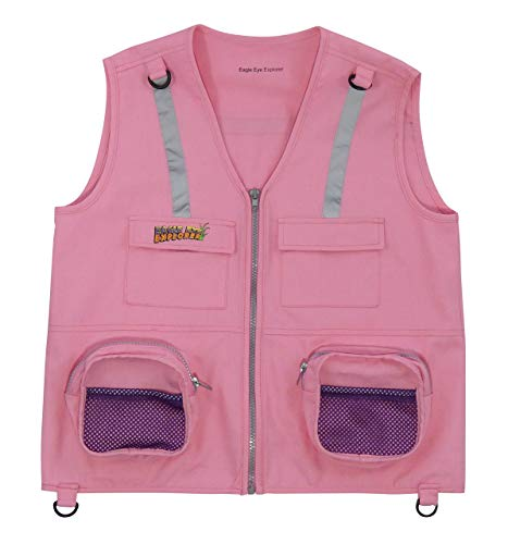 Eagle Eye Explorer Kids Cargo Vest for Boys and Girls with Reflective Safety Straps. 100% Cotton. Size: M/L Color: Pink