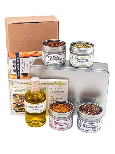direct&friendly Bio Grill Gewürz Set Geschenke für Männer mit 4 außergewöhnlichen Grillgewürz Mischungen (4 Rubs und Olivenöl)