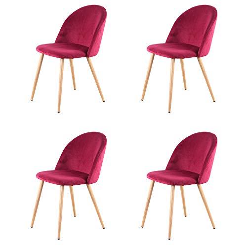 Sim Luxury Sillas de Comedor de Terciopelo Vintage Patas de Metal con Acabado Natural, sillas para salón, Dormitorio, Cocina, Rojo, 4pcs