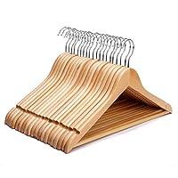 Firik 木製ハンガー 洋服ハンガー 衣料品店ハンガー 木製ハンガーおしゃれ、天然木メープル U型滑りとめ設計 スーツ、コート、ワンピース、シャツ適用