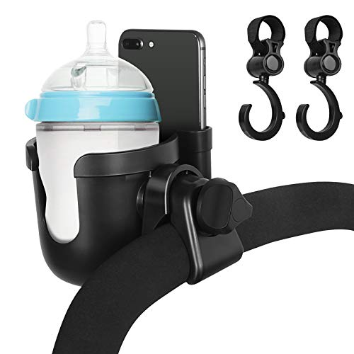 Stroller Cup Holder with Phone Holder & Hooks, 2-in-1 Universal Bottle Holder for Stroller, 360 Degrees Rotation Cup Drink Holder Storage Rack for Baby Walker Buggy Pushchair Wheelchair Trolleys Bike