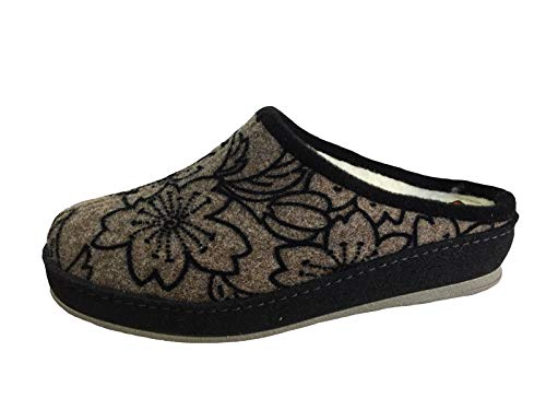 Schawos Damen Pantoffel 36 37 38 39 40 41 schwarz Schurwollfutter schwarz braun, Damen Größen:42, Farben:schwarz/grau