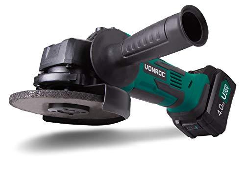 VONROC accu-haakse slijper VPower 20 V, 115 mm - complete set met 1 x 4,0 Ah accu, snellader, zijhandgreep en opbergtas