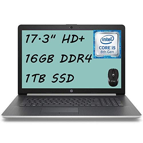 "2020 Flagship HP 17 Laptop Business Laptop, 17.3"" HD+ Brightview Display, 10th Gen Intel Quad-Core i5-1035G1 (Beats i7-8550U), 8GB DDR4 512GB SSD, DVD HDMI WiFi Webcam Win 10 + iCarp Wireless Mouse"