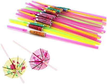 Set of 100 Colourful Flexible Disposable Tropical Drinking Straws Plastic Wedding Luau Hawaiian product image